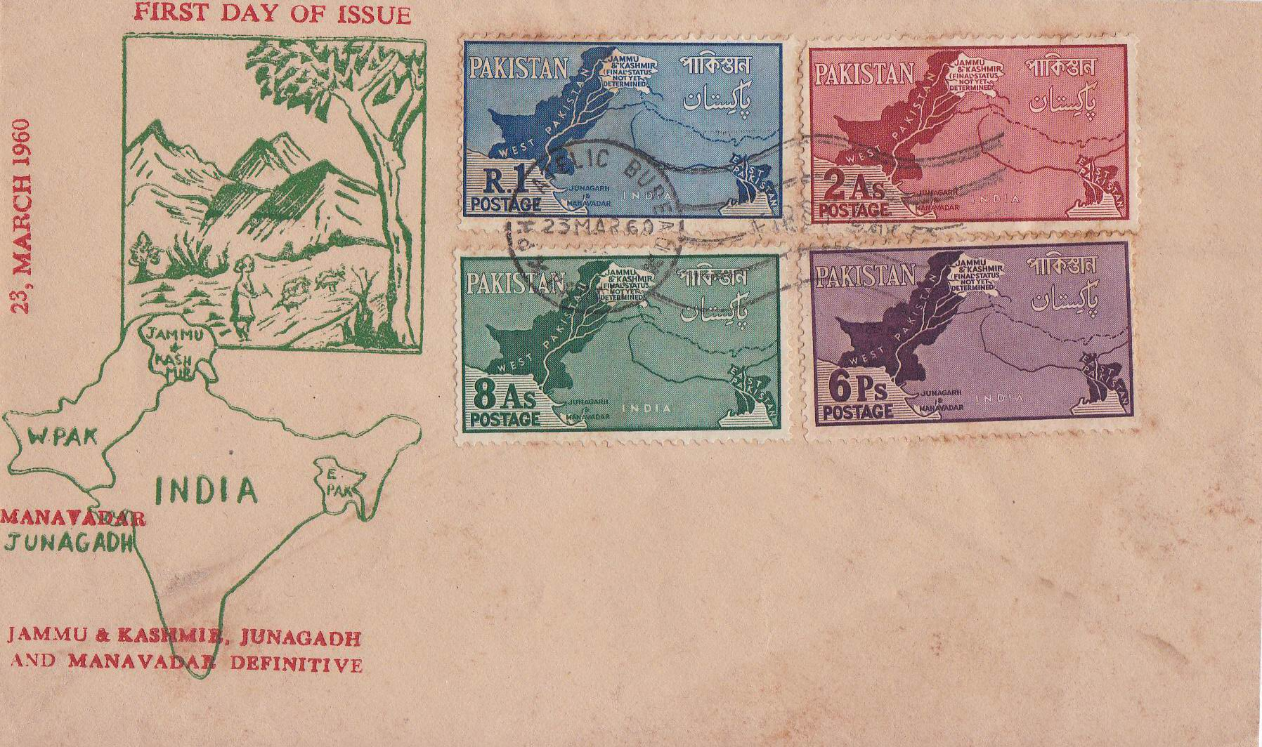 Pakistan Fdc 1960 Kashmir As Disputed Territory Map Junagarh 10