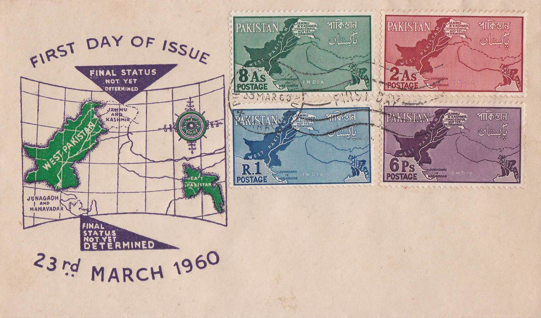Pakistan Fdc 1960 Kashmir As Disputed Territory Map Junagarh 11
