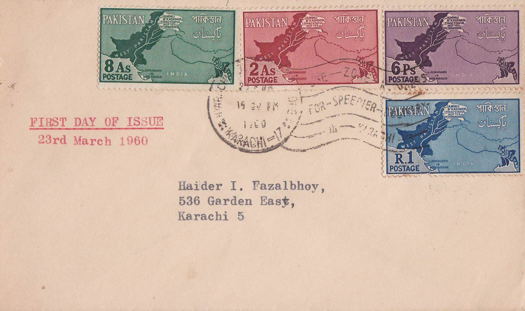 Pakistan Fdc 1960 Kashmir As Disputed Territory Map Junagarh