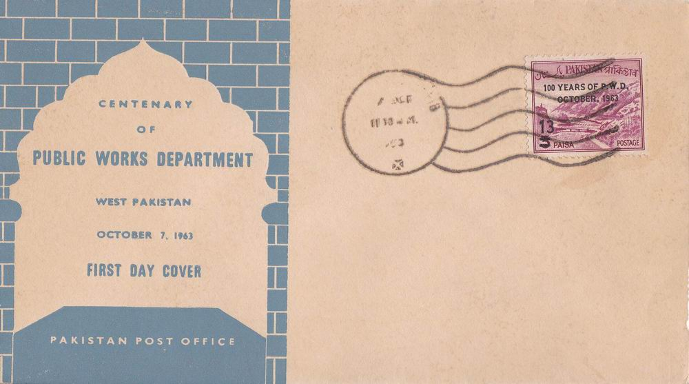 Pakistan Fdc 1963 Centenary Of PWD