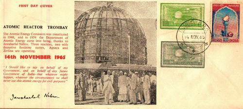 India 1965 Fdc Atomic Reactor Trombay Nehrus Words