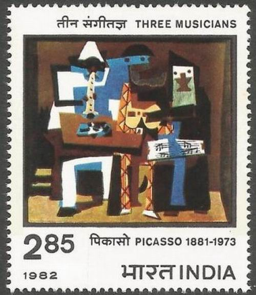 India 1982 Stamp Pablo Rulz Picasso 3 Musicians Painting