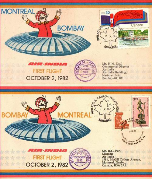 India 2 Fdc First Flight Bombay Montreal Bombay