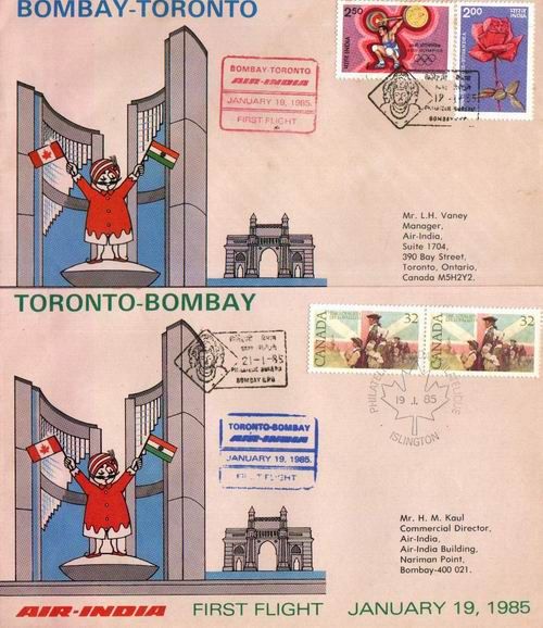 India 2 Fdc First Flight Bombay Toronto Bombay