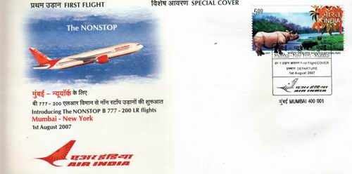 India Fdc First Flight Cover Mumbai To New York B 777