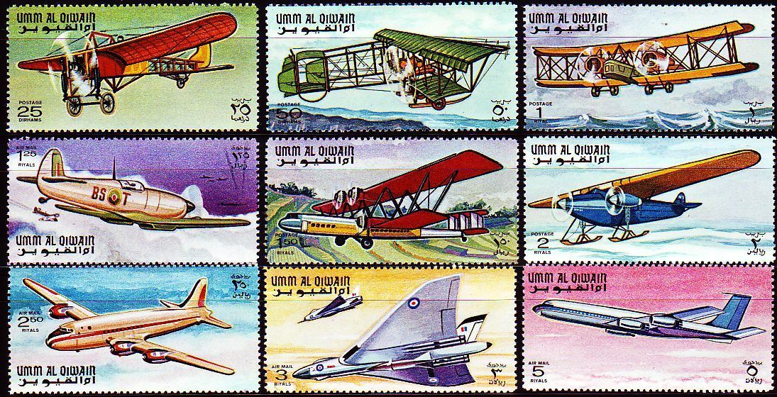 Umm Al Qiwain 1968 Stamps Airplane Aircraft Boeing Fokker