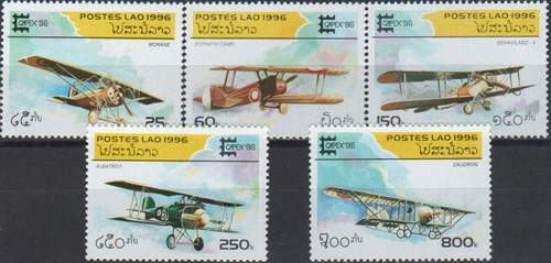 Laos 1996 Stamps Set Antique Airplanes Biplanes