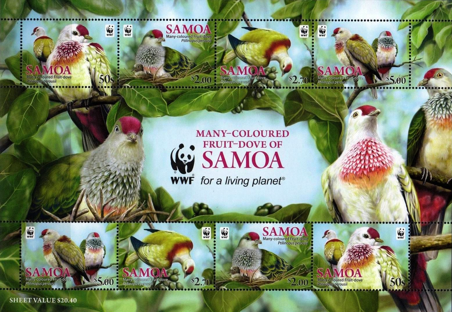 WWF Samoa 2011 Stamps Birds Fruit Dove MNH