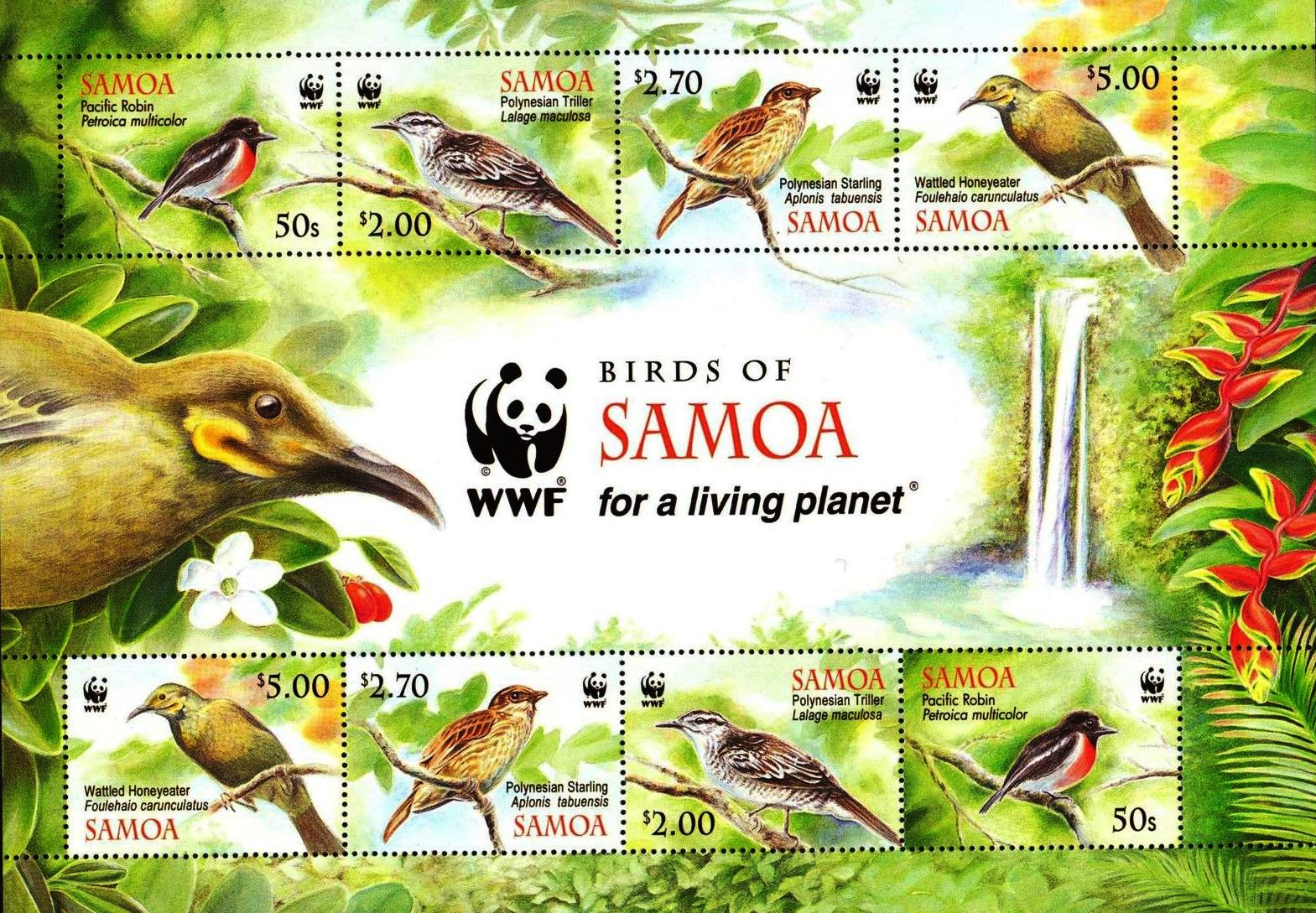 WWF Samoa 1990 Stamps Birds Robin Honeyeater Starling MNH