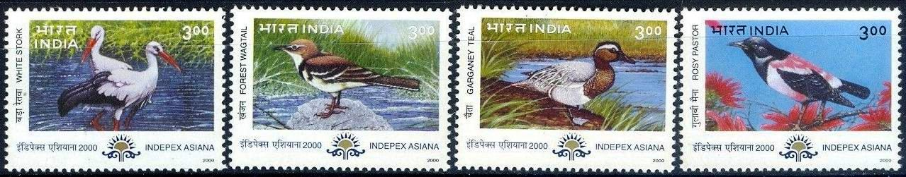 India 2000 Stamps Migratory Birds Ducks MNH
