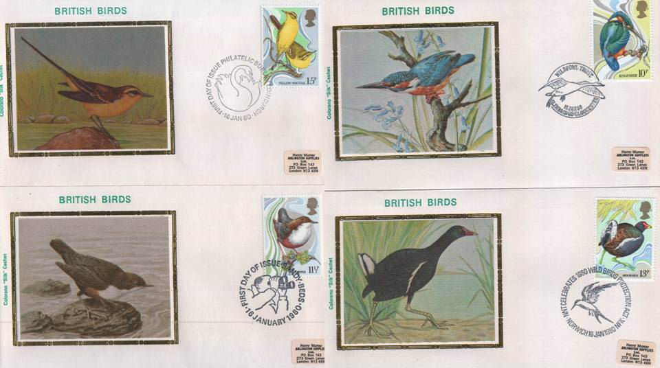 Great Britain Fdc 1980 Colorano Silk Birds