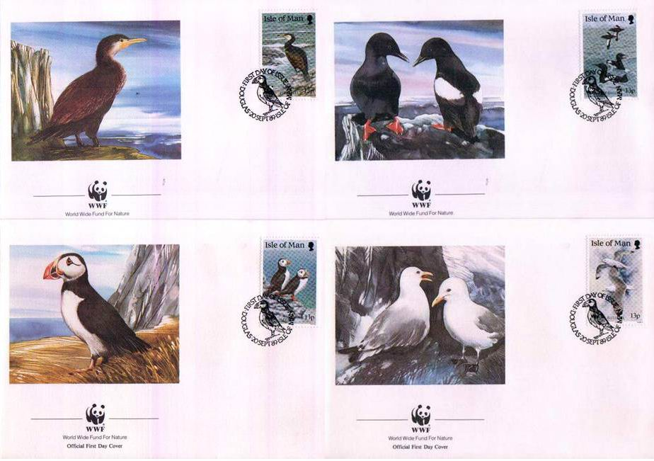 WWF Isle Of Man 1989 Fdc Birds Puffin