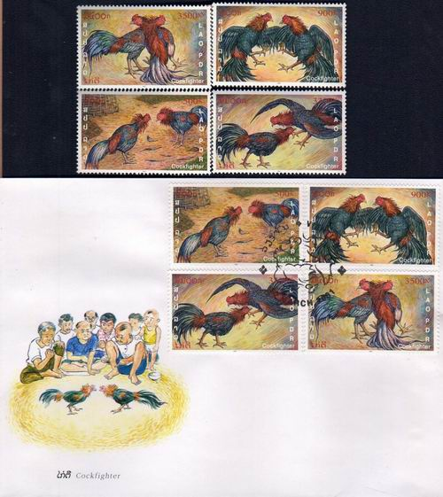 Laos Fdc 2001 & Stamps Cock Fighter