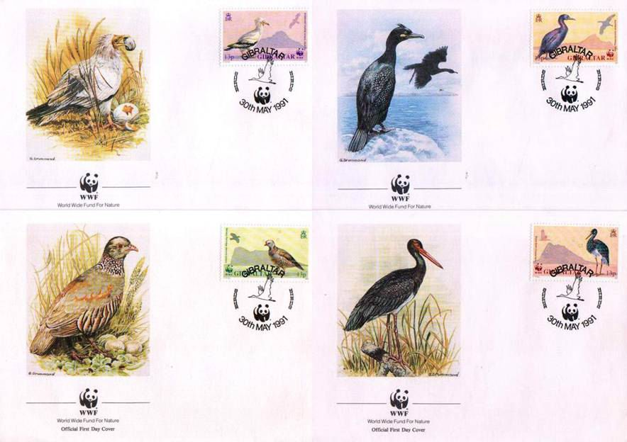 WWF Gibraltar 1991 Fdc Barbery Partridge Black Stork Vulture