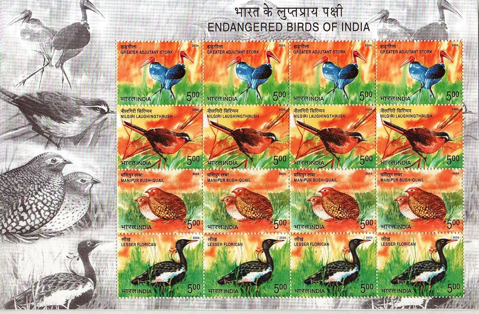 India Stamps 2006 Sheet Endangered Birds Of India