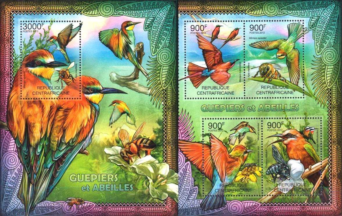 Central Africa 2012 S/Sheet Stamps Bee Eater Birds MNH