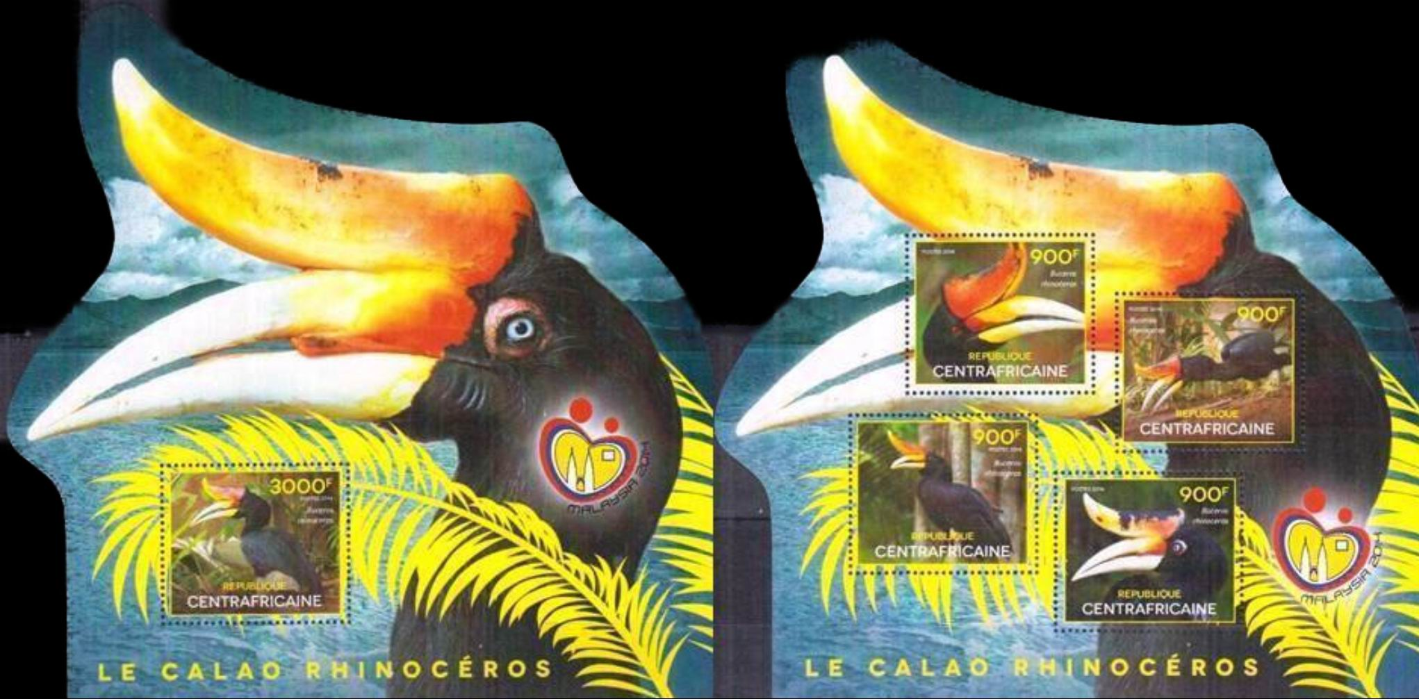 Central Africa 2014 Odd Shape S/Sheet Stamps Rhinoceros Hornbill