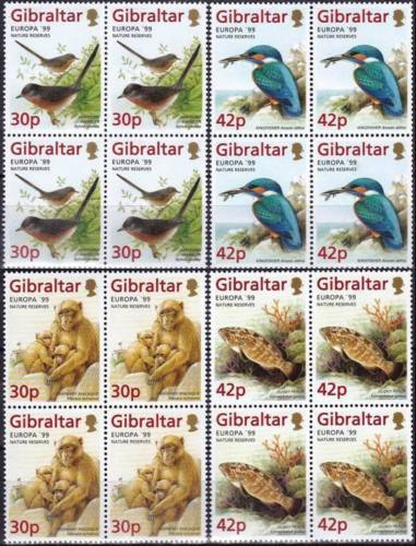 Gibraltar 1999 Stamps Nature Reserves Kingfisher Bird Fishes