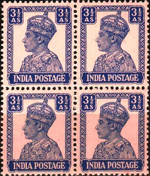 British India Bahrain 1942 KGVI 3 Anna Stamps MNH