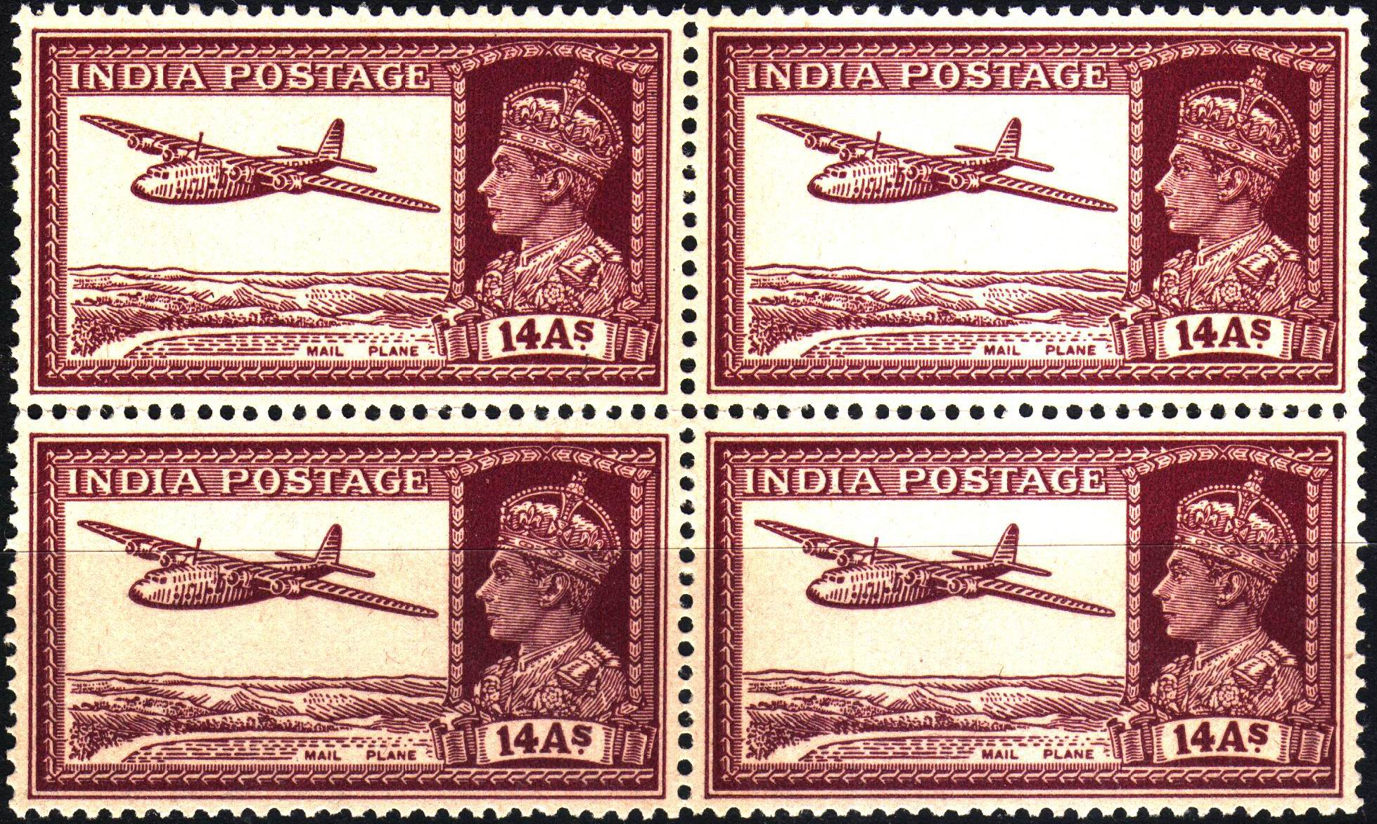 British India 1940 KGVI 14 Anna Stamps MNH