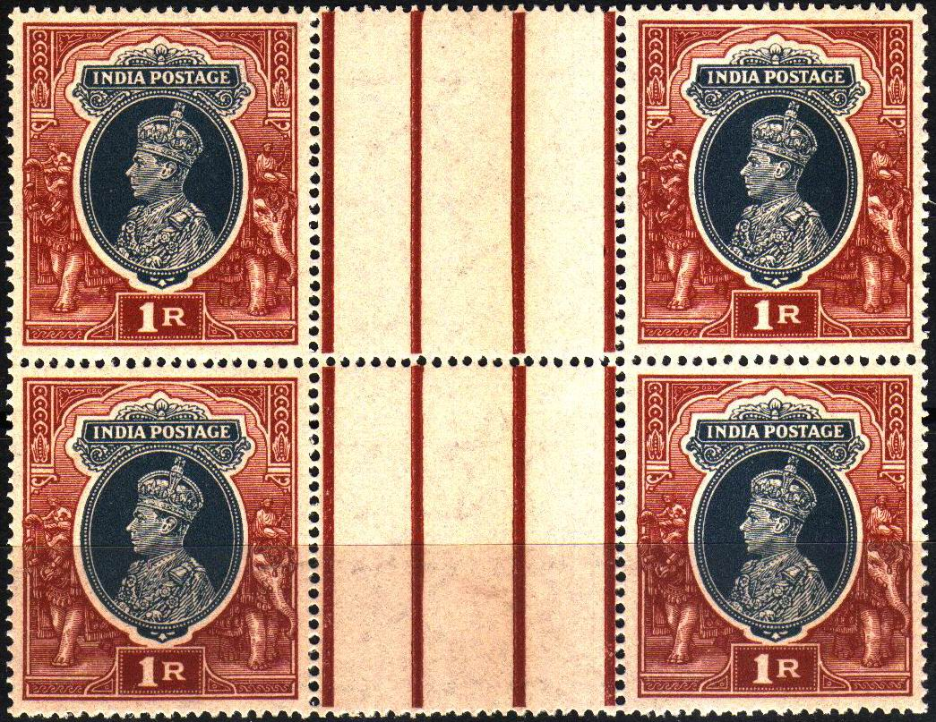 British India 1946 KGVI 1 Rupee Stamps MNH