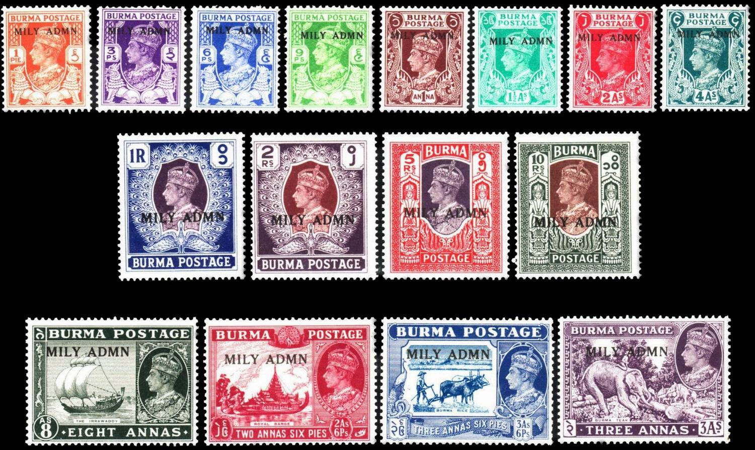 British Burma KGVI 1945 Military Administration Stamps MNH