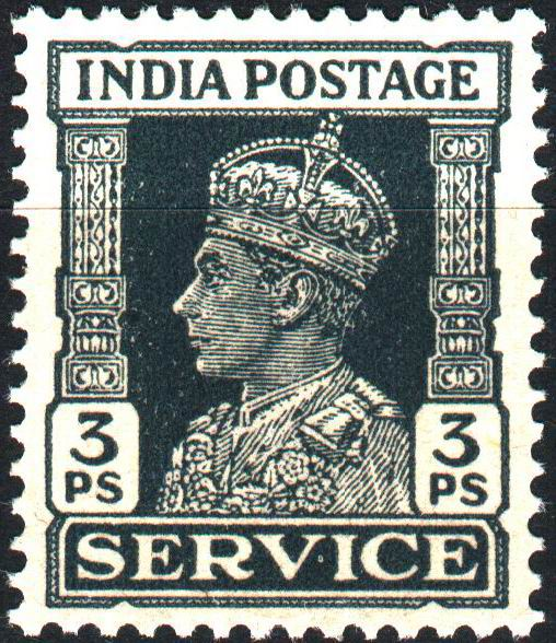 British India 1937 KGVI 3 Paisa Service Stamp MNH