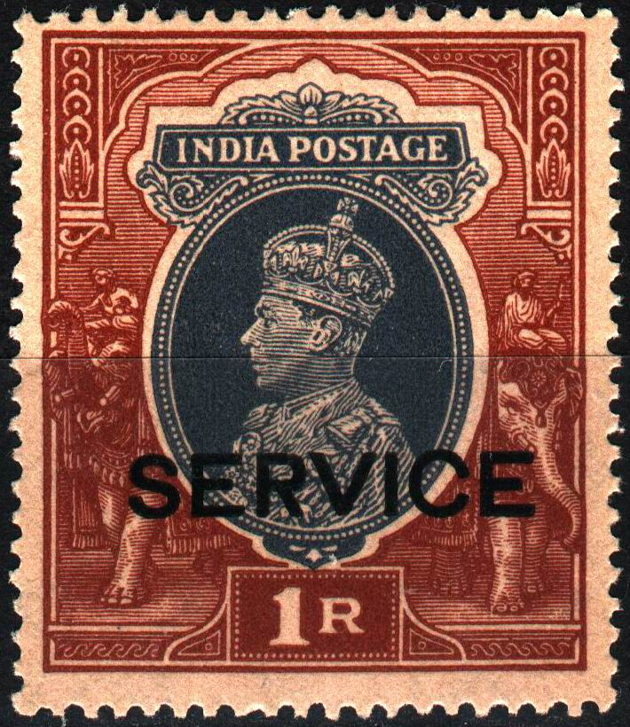 British India 1937 KGVI 1 Rupee Stamps MNH