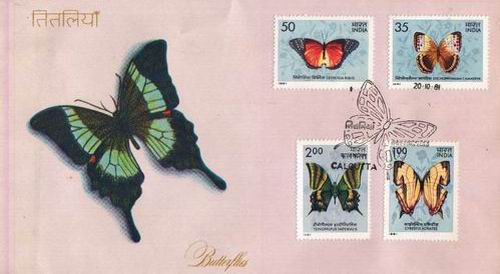 India 1981 Fdc Butterflies