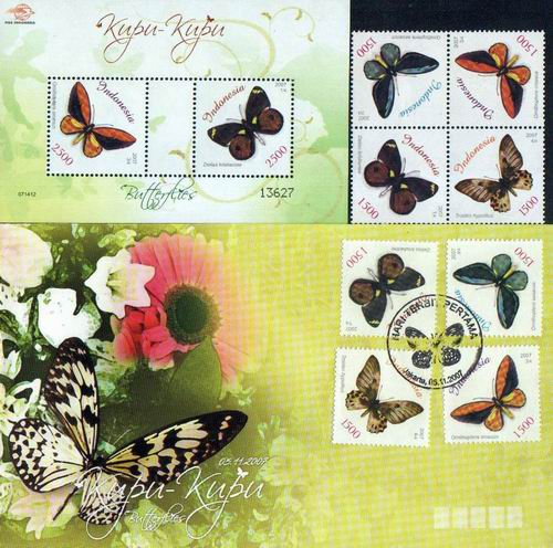 Indonesia Beautiful Fdc S/Sheet & Stamps Butterflies