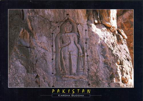 Pakistan Postcard Buddha Rock Swat