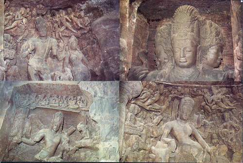India Postcard Rock Carvings At Elephant Caves