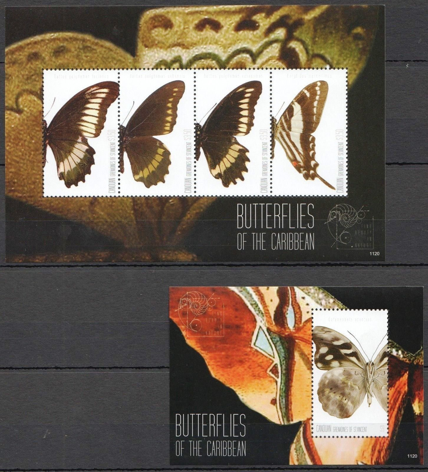 Canouan 2011 Stamps Butterflies Of The Caribbean MNH