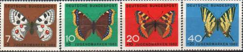 Germany 1962 Stamps Butterflies