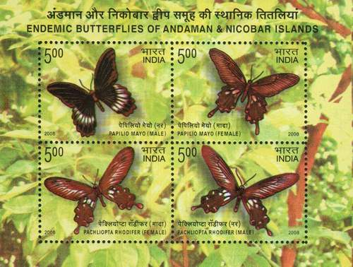 India 2008 Stamps S/Sheet Endemic Butterflies Of Andaman