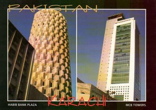 Pakistan Beautiful Postcard Habib Bank & Mcb Tower Karachi