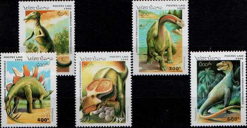 Laos 1995 Stamps Prehistoric Animals Dinosaurs Reptiles