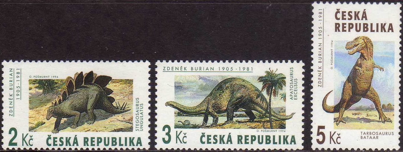 Czech Republic 1994 Stamps Prehistoric Animals Dinosaurs