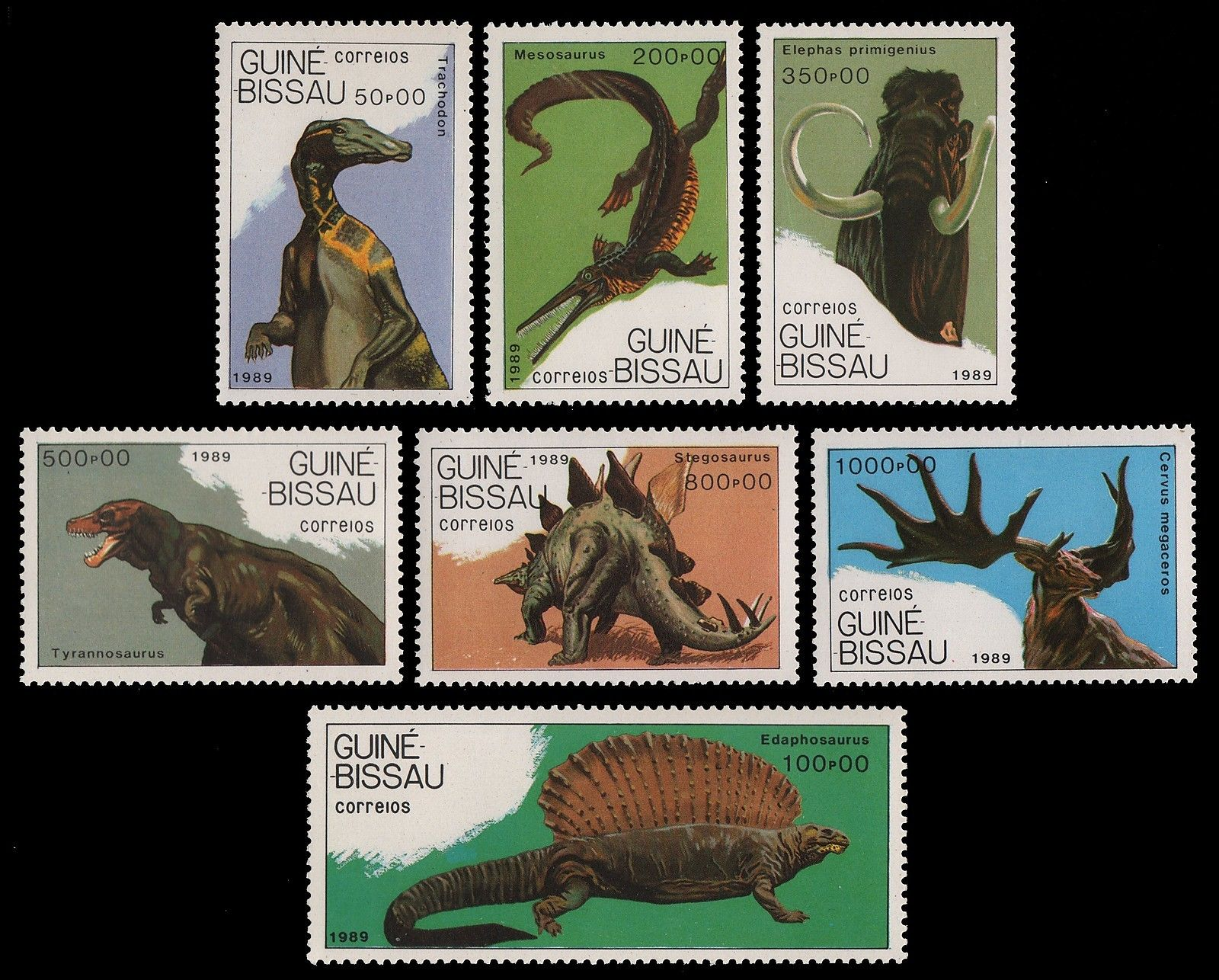 Guinea Bissau 1989 Stamps Prehistoric Dinosaurs Mammoth Reptiles