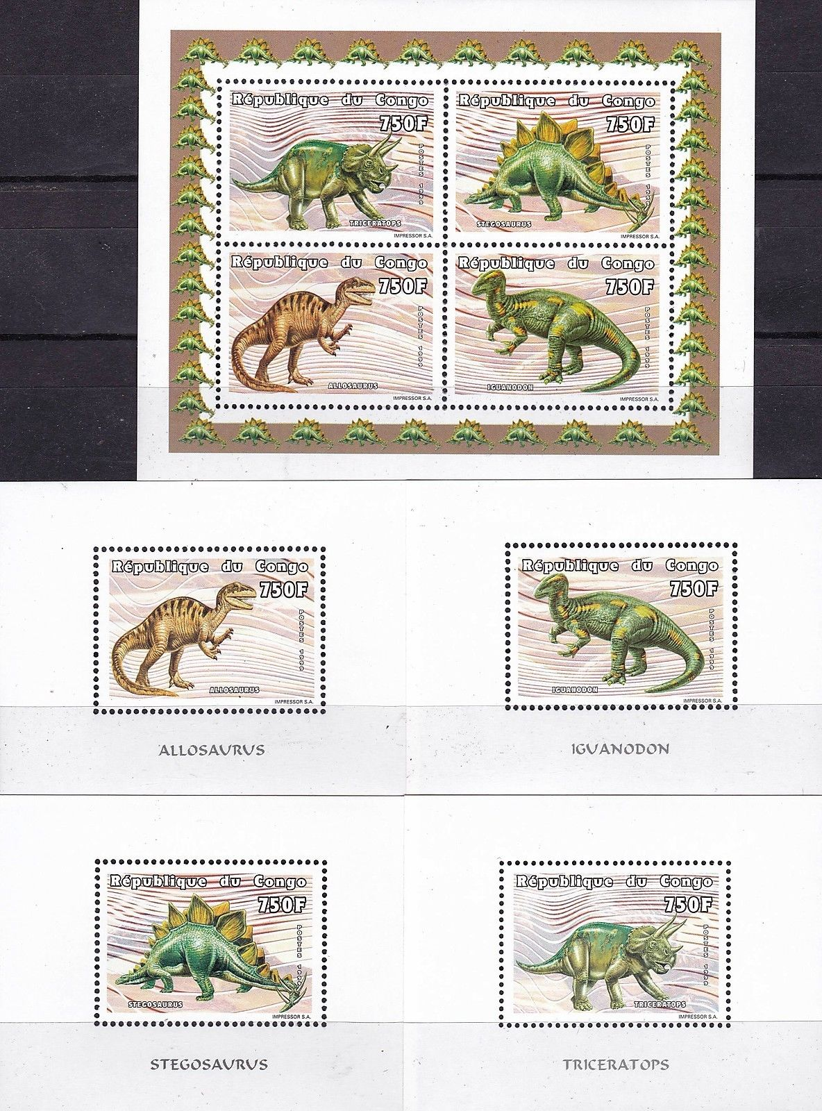 Congo 1999 S/Sheet & Stamps Prehistoric Dinosaurs