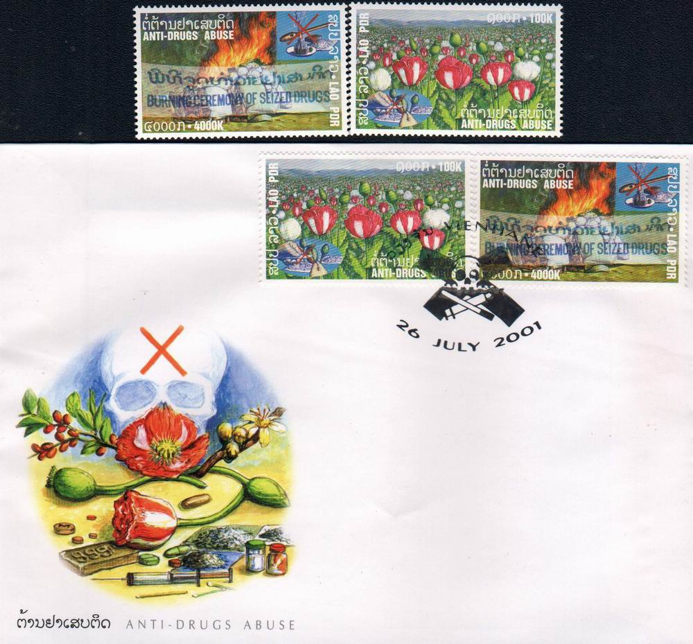 Laos Fdc 2001 & Stamps Fight Against Drugs