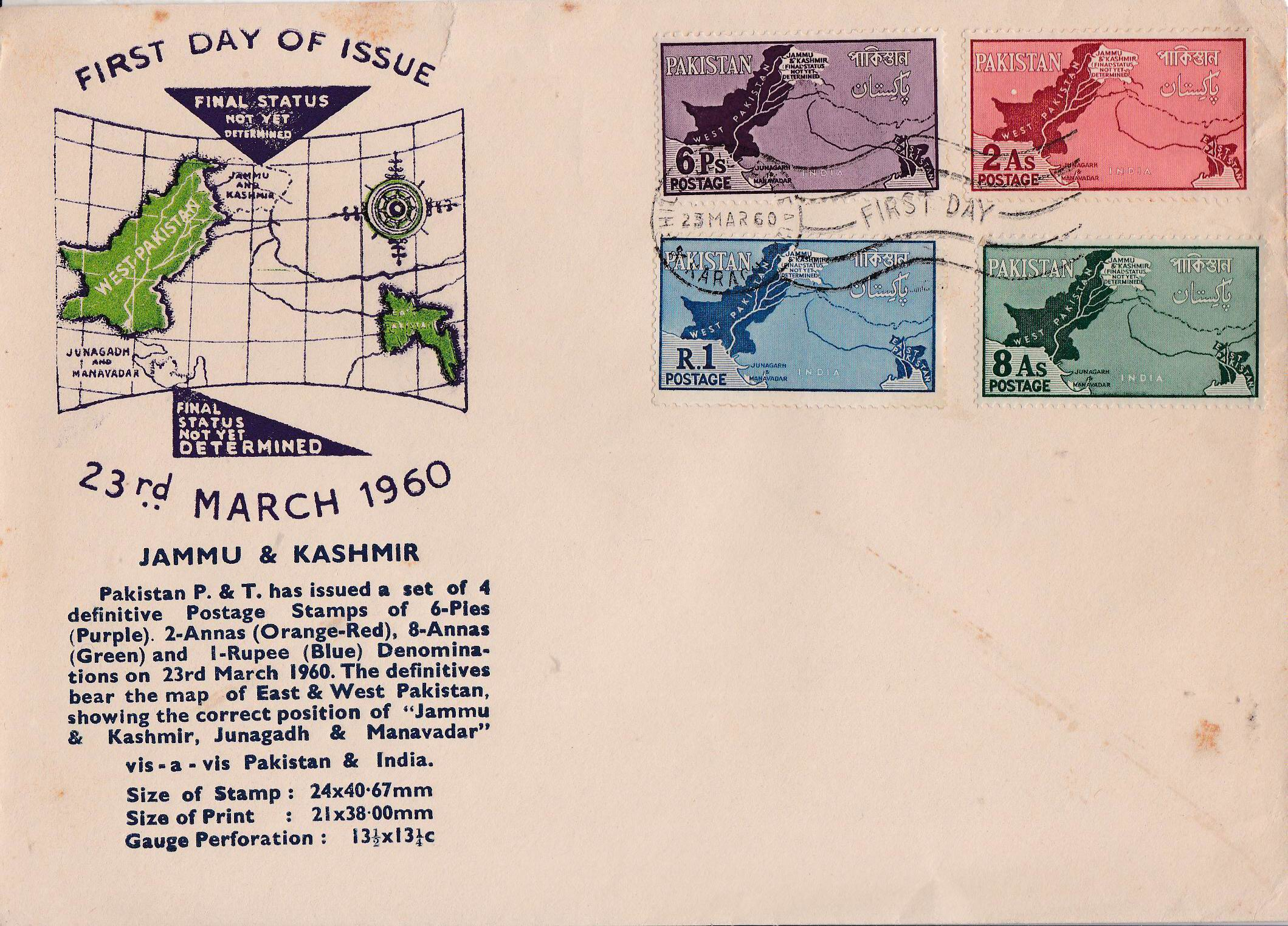 Pakistan Fdc 1960 Kashmir As Disputed Territory Map Junagarh 02