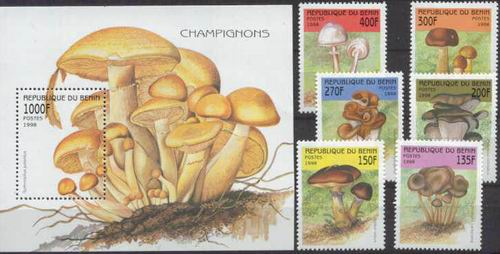 Benin 1998 S/Sheet & Stamps Mushrooms