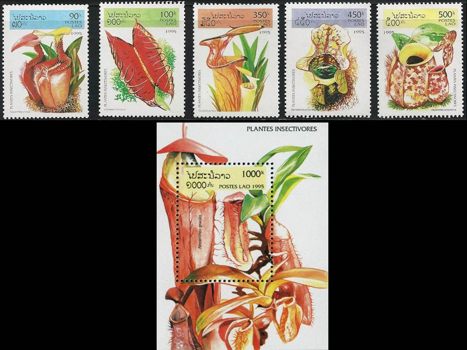 Laos Beautiful Mint Stamps Insect Eating Plants