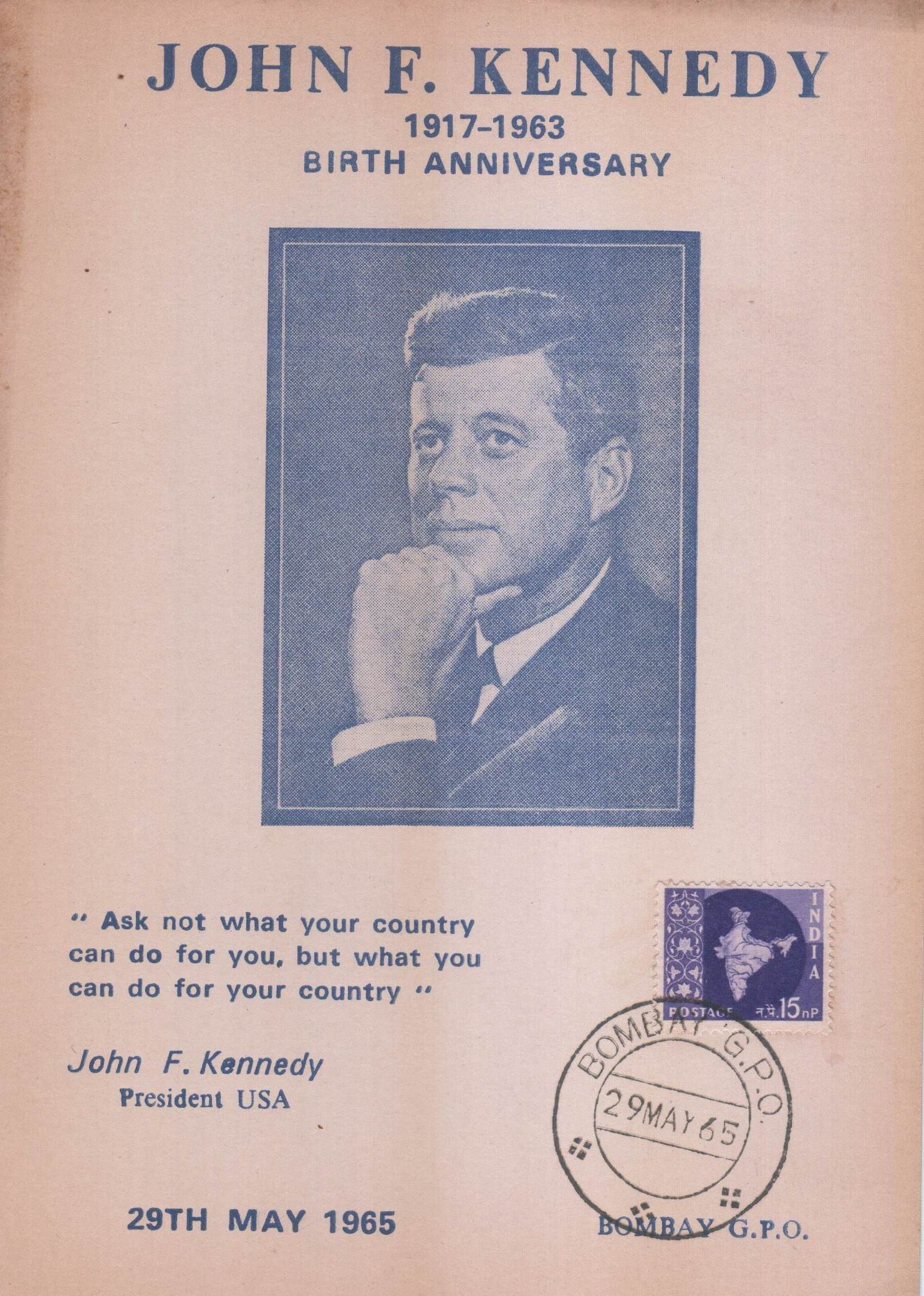 India 1965 Maxi Card Great JFK'S Scarce Blue B'Day Mourning