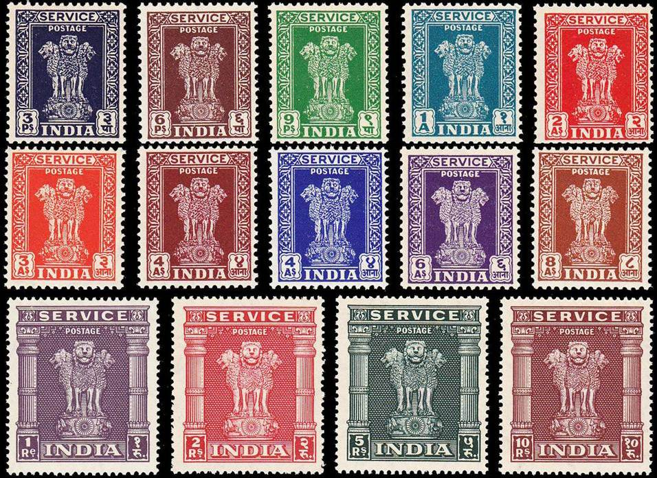 India 1950 Stamps Asoka Pillar Official Set MNH
