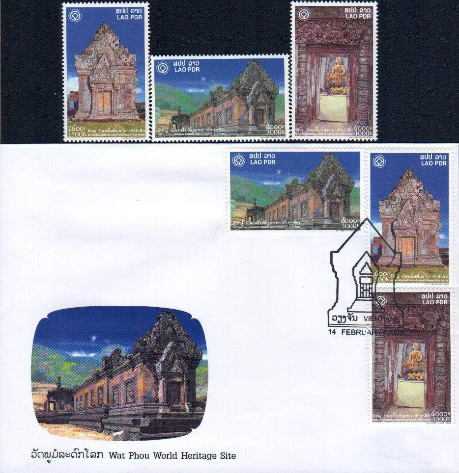 Laos Fdc & Stamps Wat Phou Heritage Site