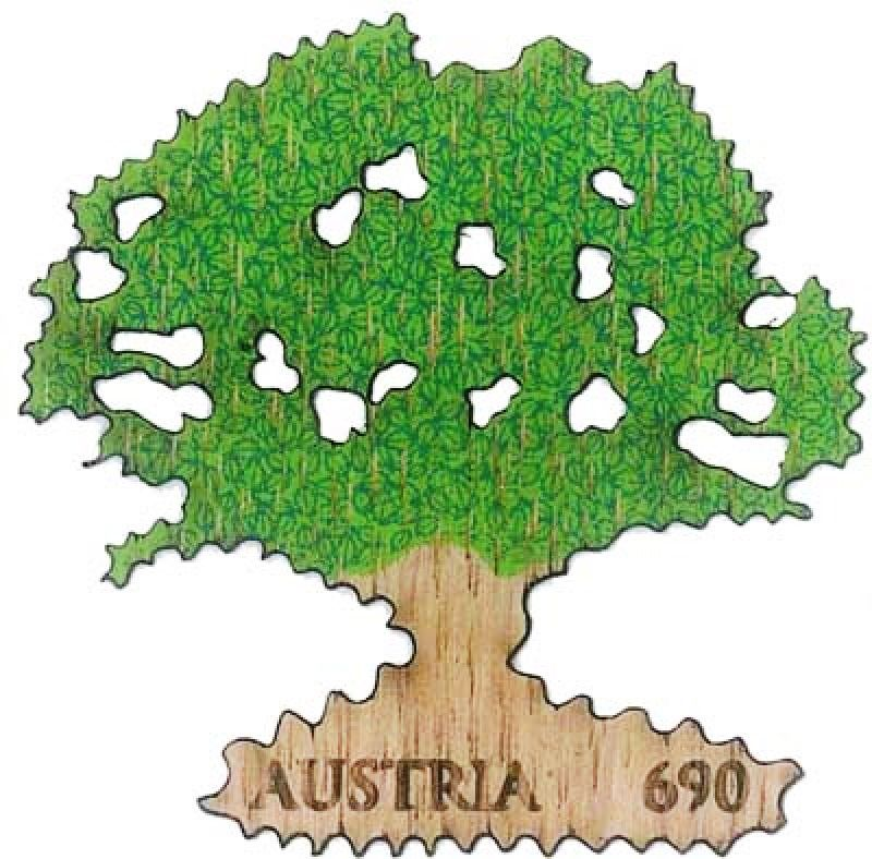 Austria Fdc 2017 Real Oak Tree Wooden Stamp