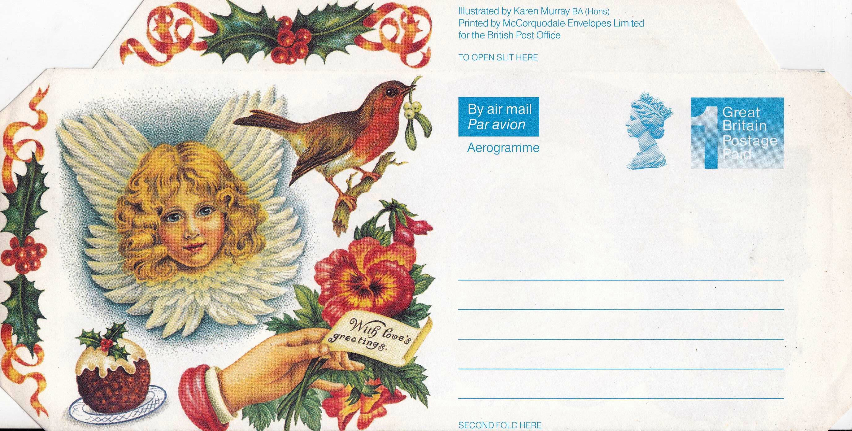 Great Britain 1992 Postal Stationey Aerogramme Christmas