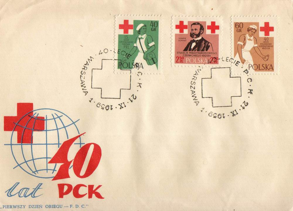 Poland Fdc 1959 Birth Of Red Cross Centenary